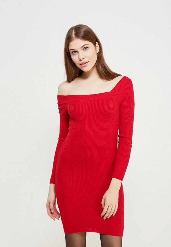 Купить Платье Lost Ink Petite, P OFF SHOULDER RIB DRESS, lo040ewzej48, красный, Осень-зима 2017/2018