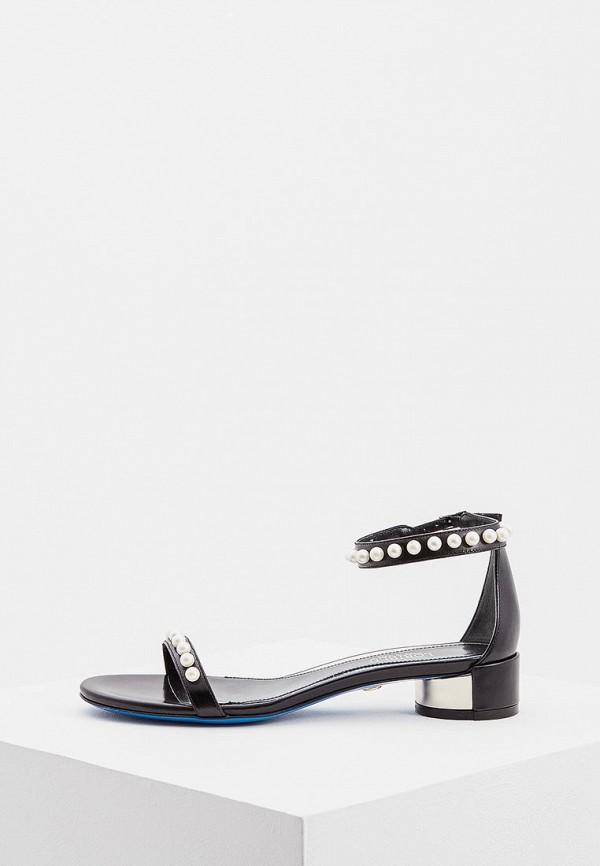 Женские черные итальянские кожаные сандалии