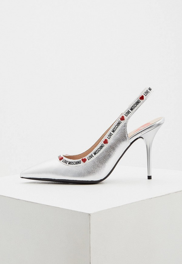 женские туфли love moschino, серебряные