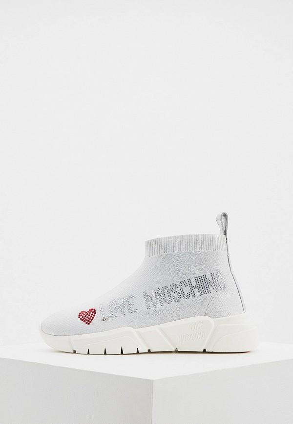 женские кроссовки love moschino, серебряные