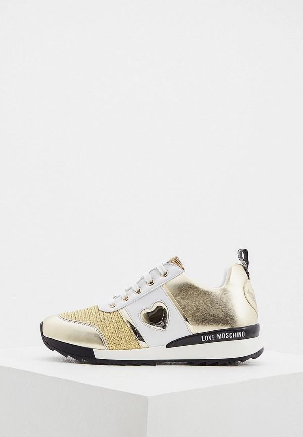 женские кроссовки love moschino, золотые