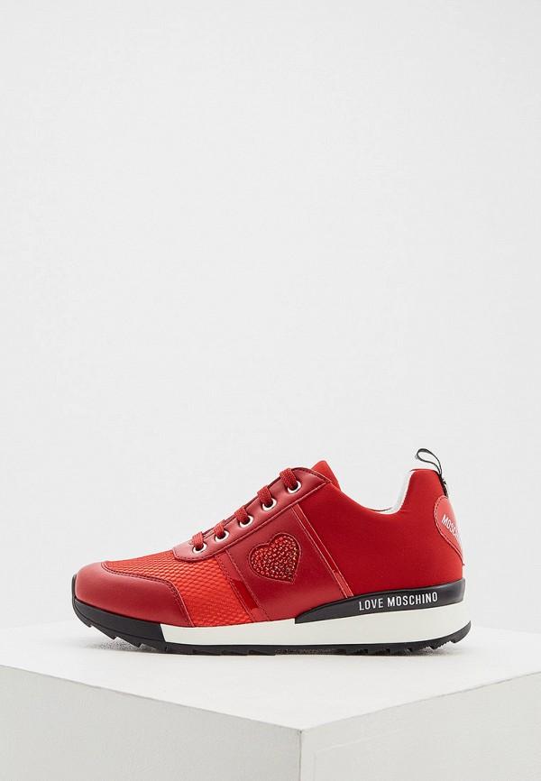 женские кроссовки love moschino, красные