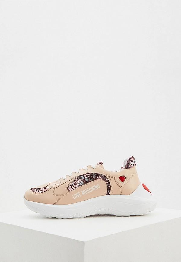 женские кроссовки love moschino, бежевые