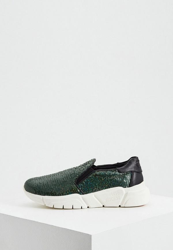 женские кроссовки love moschino, зеленые