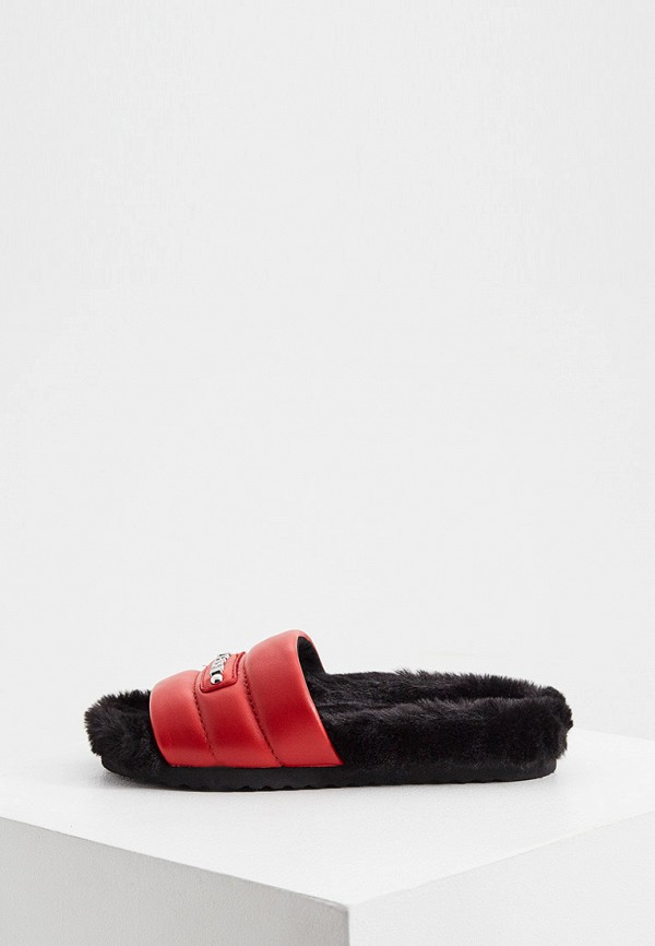женское сабо love moschino, красное