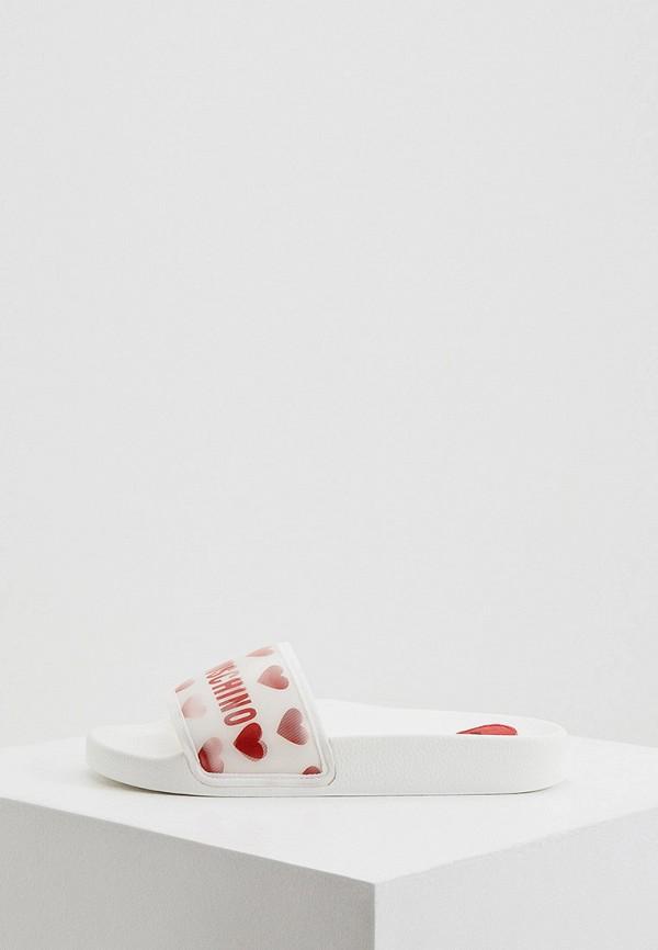 женское сабо love moschino, белое