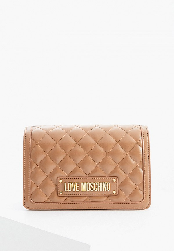 женская сумка love moschino, бежевая