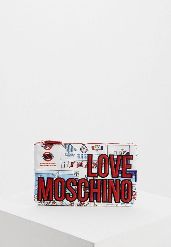 женский клатч love moschino, белый