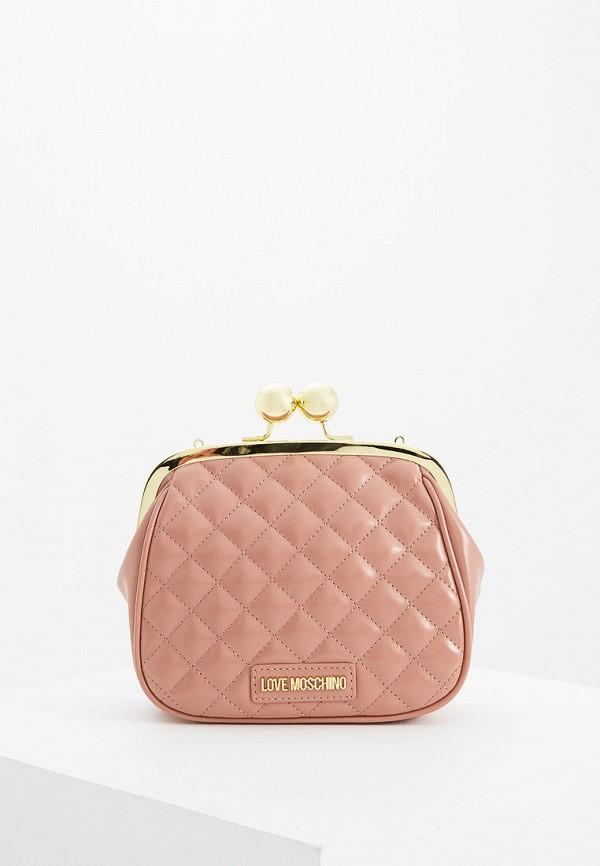 женский клатч love moschino, розовый