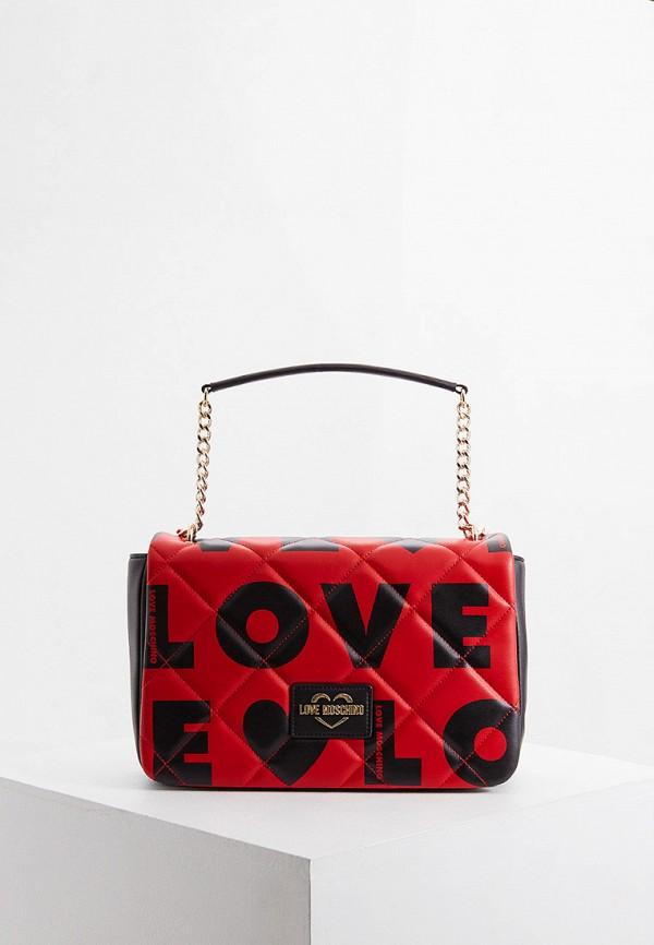 женская сумка love moschino, красная