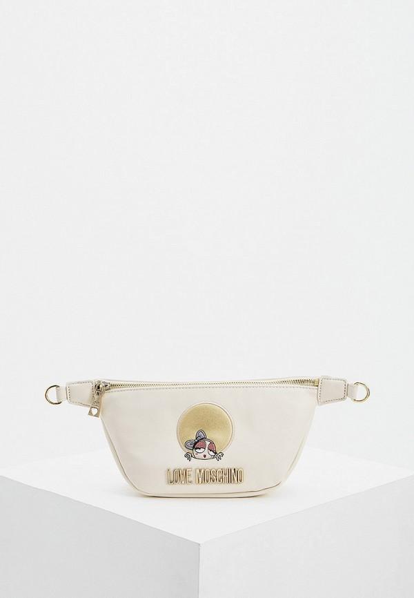 женская поясные сумка love moschino, бежевая