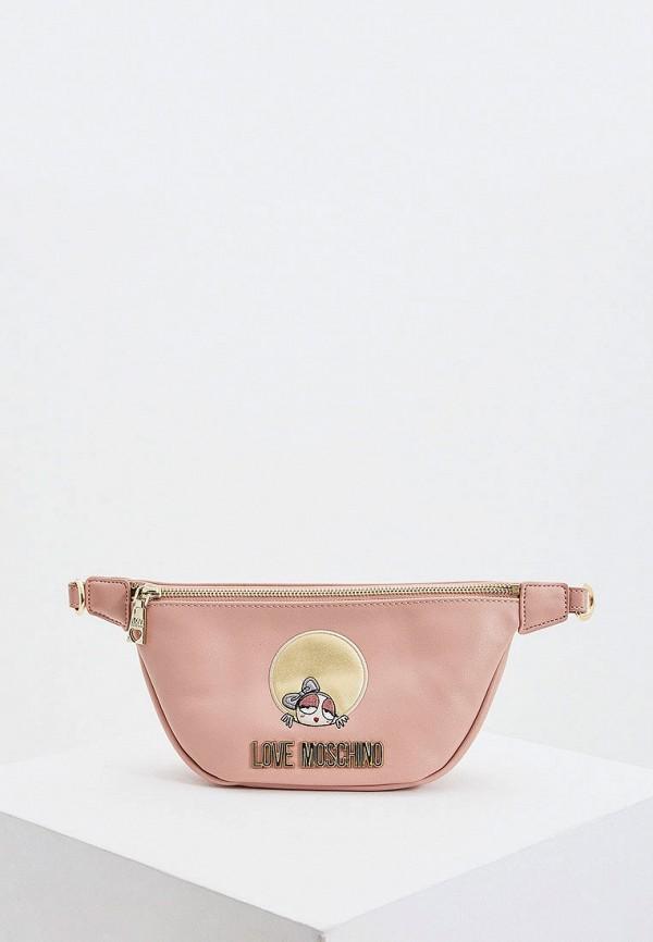 женская поясные сумка love moschino, розовая