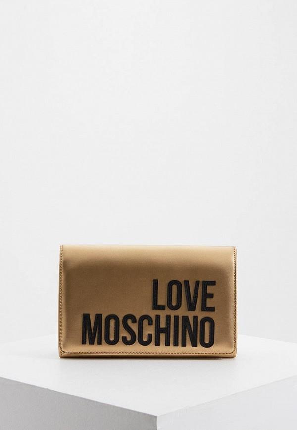 женская сумка love moschino, золотая