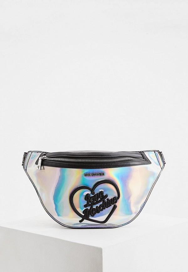 женская поясные сумка love moschino, серебряная