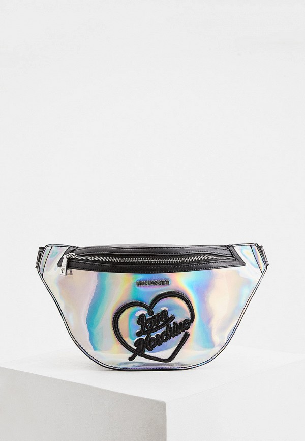 женская сумка love moschino, серебряная