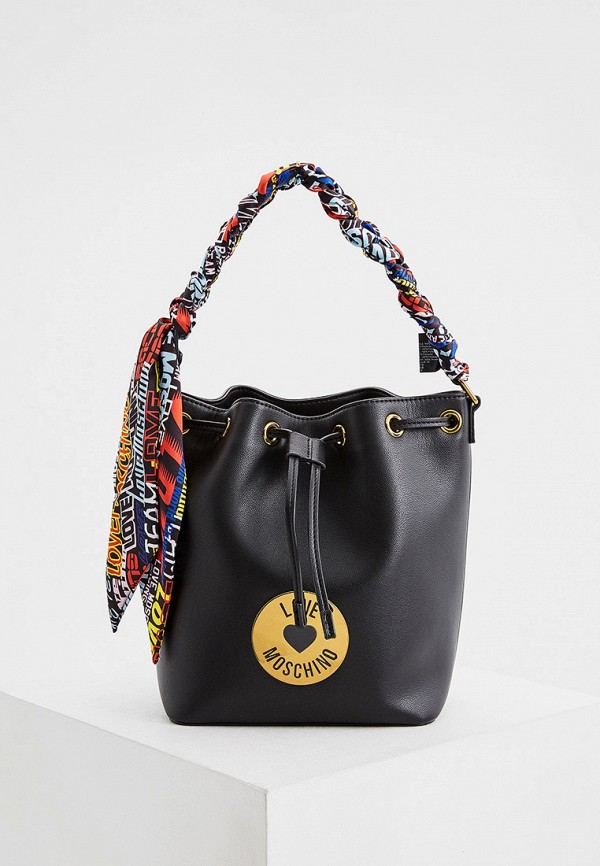 женская сумка с ручками love moschino, черная