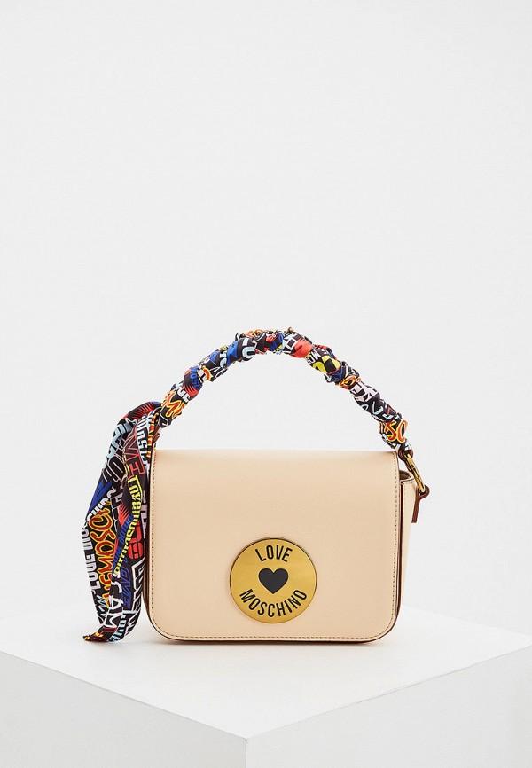 женская сумка через плечо love moschino, бежевая