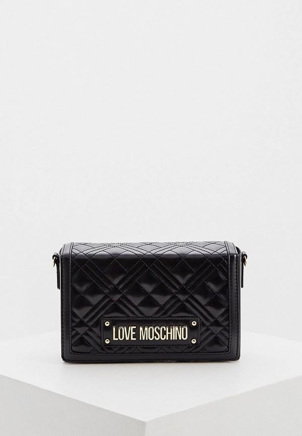женская сумка через плечо love moschino, черная