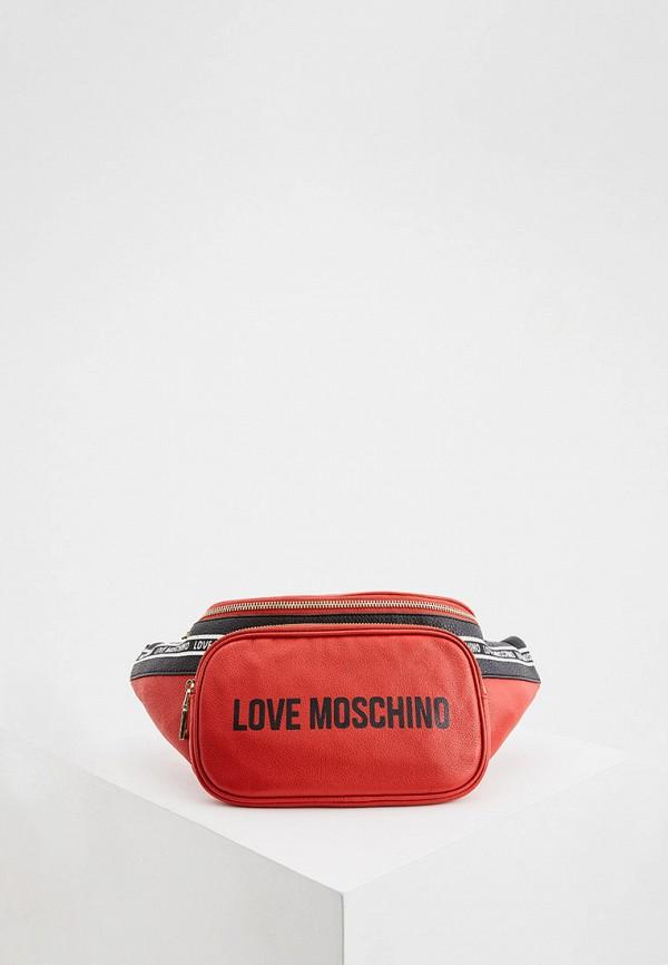 женская поясные сумка love moschino, красная