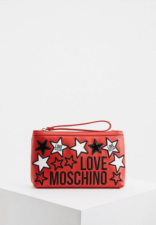женская сумка через плечо love moschino, красная