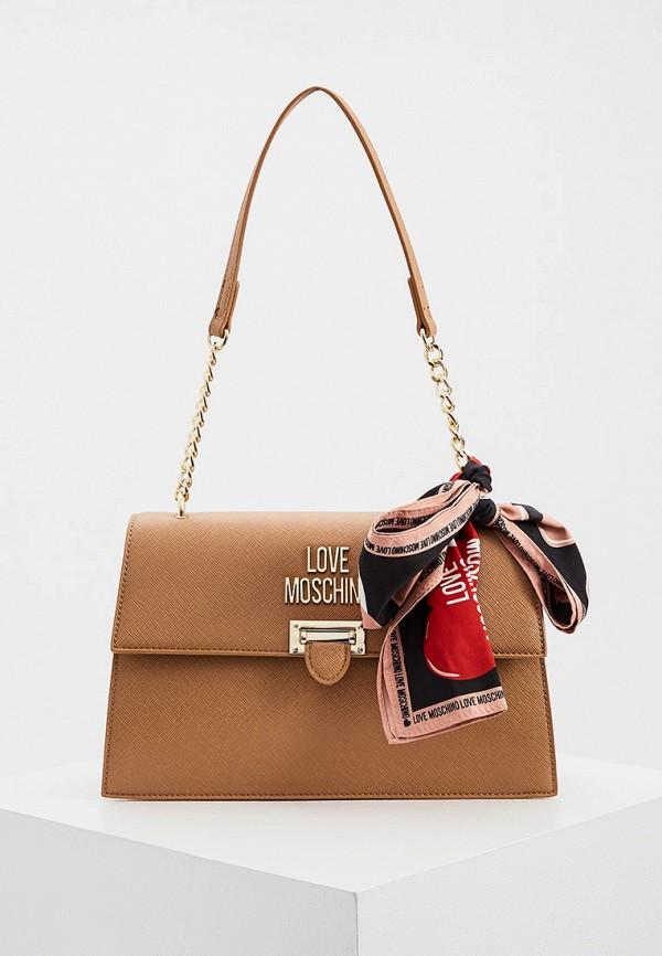 женская сумка через плечо love moschino, коричневая