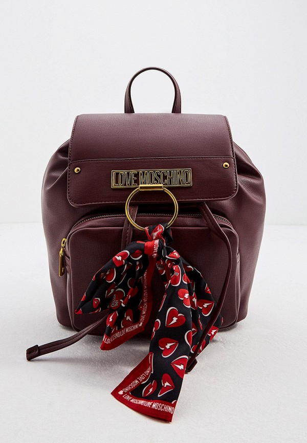 женский рюкзак love moschino, бордовый
