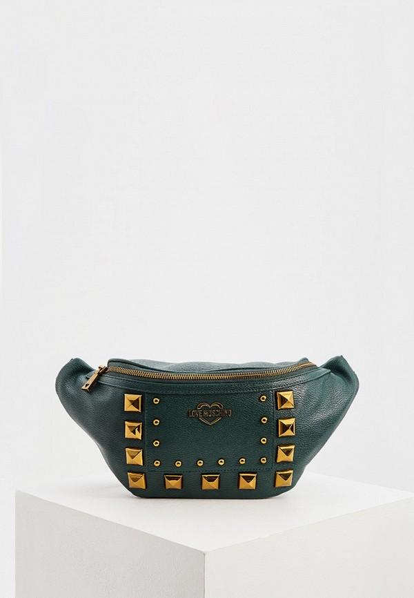 женская сумка love moschino, зеленая