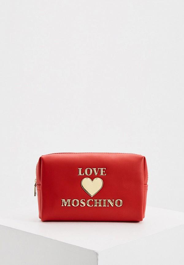 женская косметичка love moschino, красная