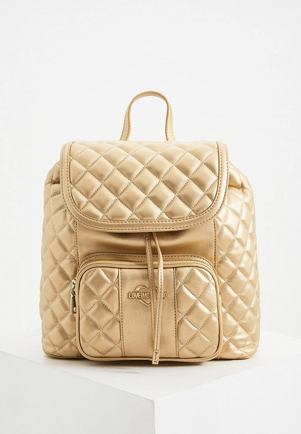 женский рюкзак love moschino, золотой