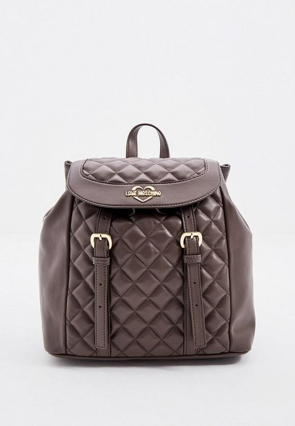 женский рюкзак love moschino, коричневый