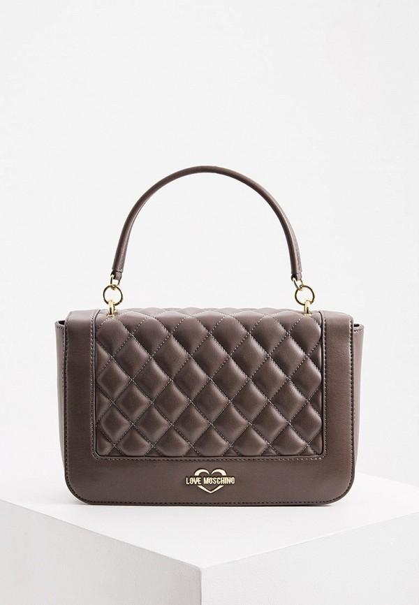 женская сумка love moschino, коричневая