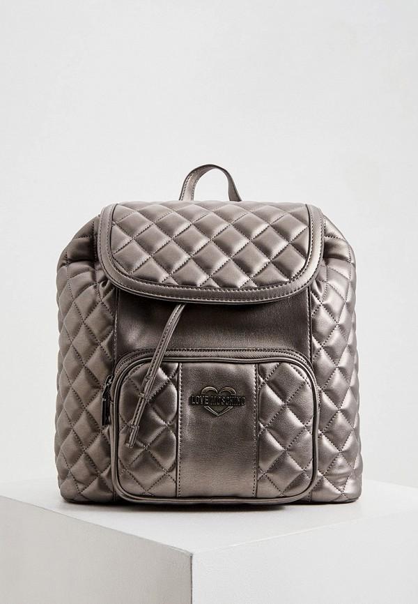 женский рюкзак love moschino, серебряный