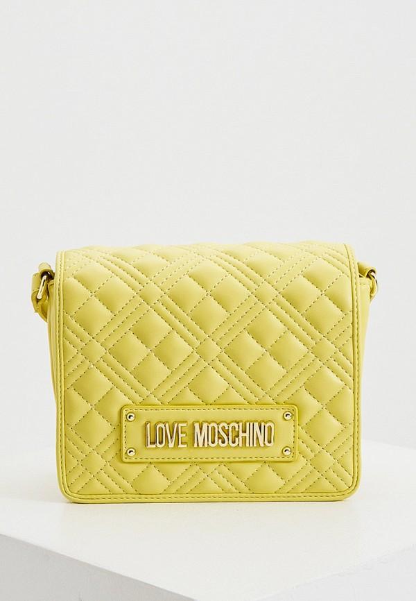 женская сумка через плечо love moschino, желтая