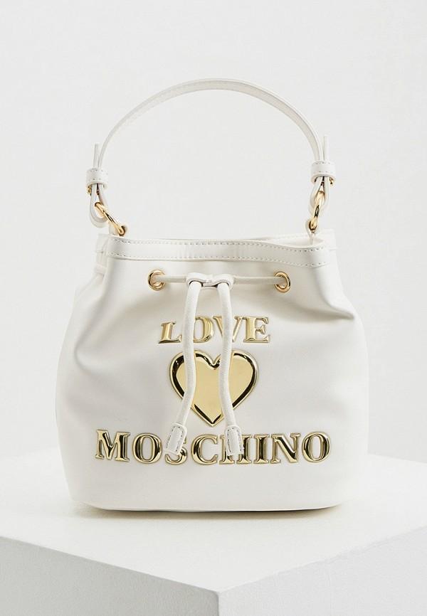 женская сумка-ведро love moschino, белая