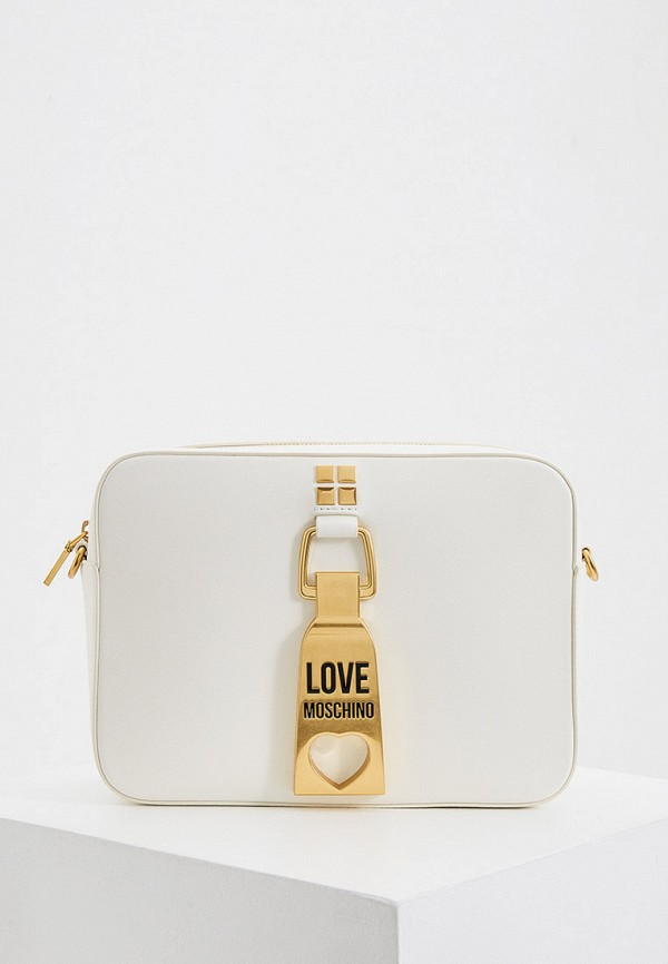 женская сумка через плечо love moschino, белая