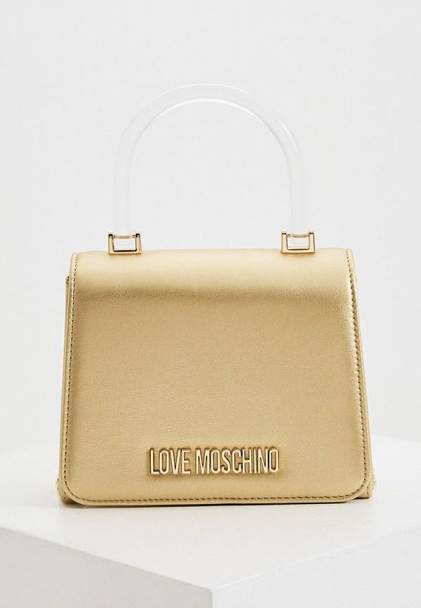 женская сумка с ручками love moschino, золотая