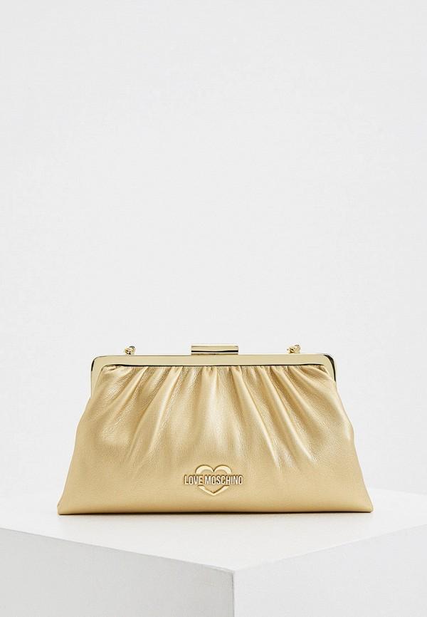женский клатч love moschino, золотой