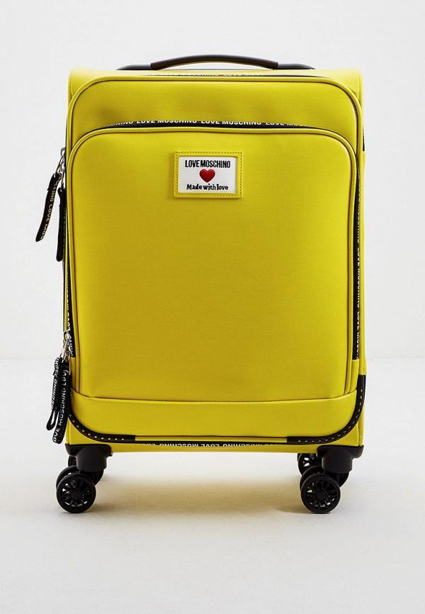 женский чемодан love moschino, желтый