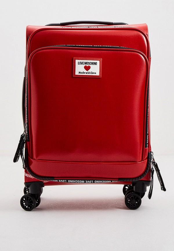 женский чемодан love moschino, красный