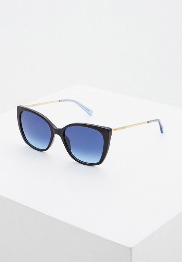 женские солнцезащитные очки кошачьи глаза love moschino, синие