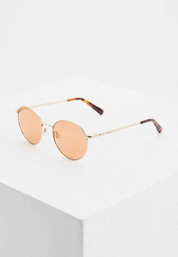 женские круглые солнцезащитные очки love moschino, оранжевые
