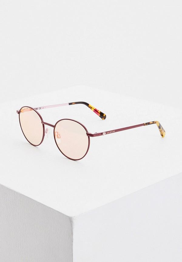 женские круглые солнцезащитные очки love moschino, розовые