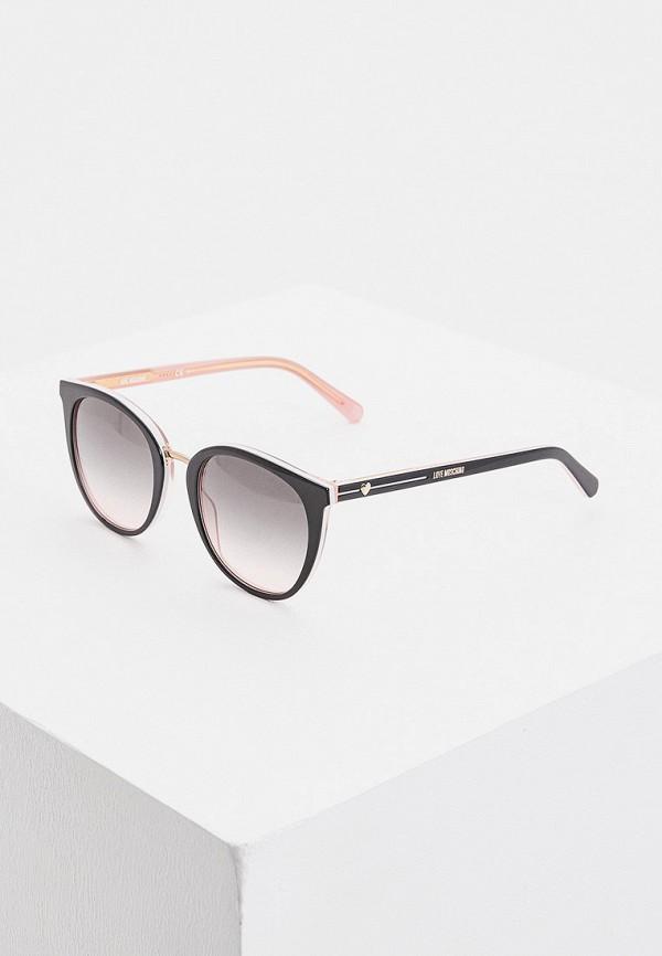 женские круглые солнцезащитные очки love moschino, черные