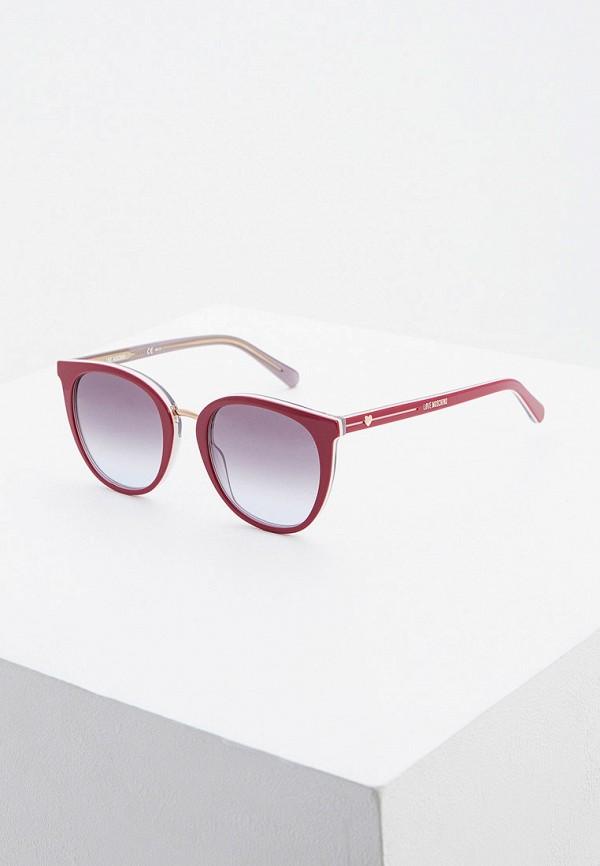женские круглые солнцезащитные очки love moschino, фиолетовые