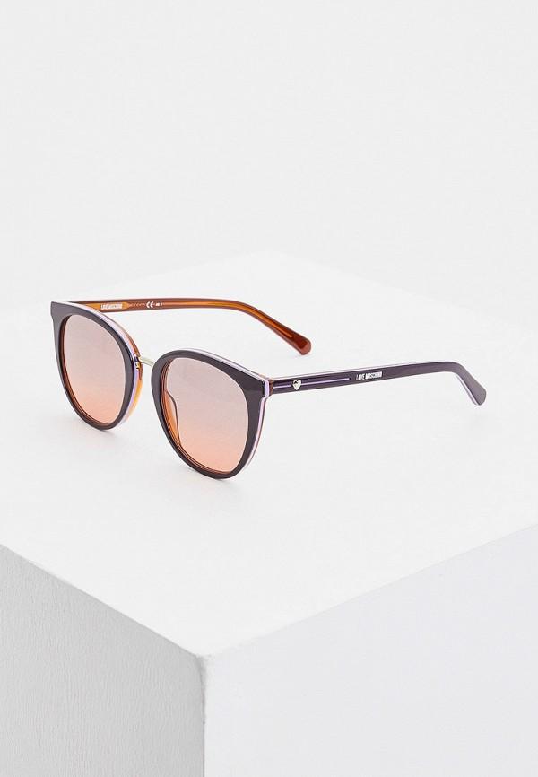 женские солнцезащитные очки кошачьи глаза love moschino, бордовые