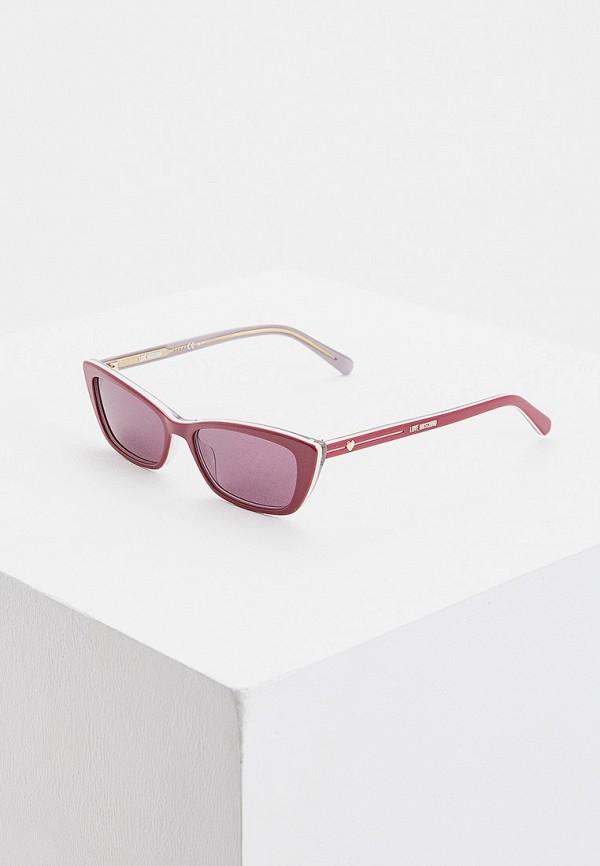 женские солнцезащитные очки кошачьи глаза love moschino, фиолетовые
