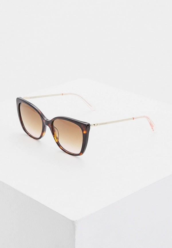 женские солнцезащитные очки кошачьи глаза love moschino, коричневые
