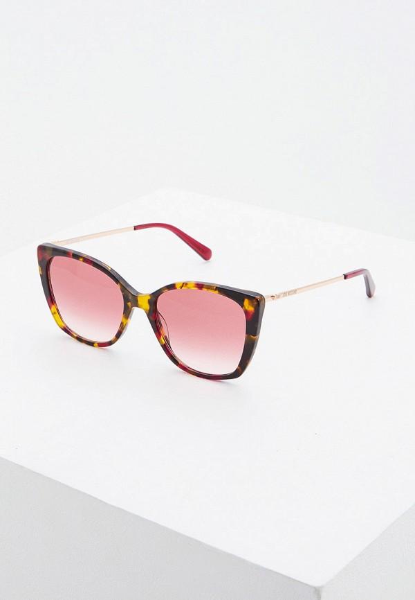 женские солнцезащитные очки кошачьи глаза love moschino, розовые