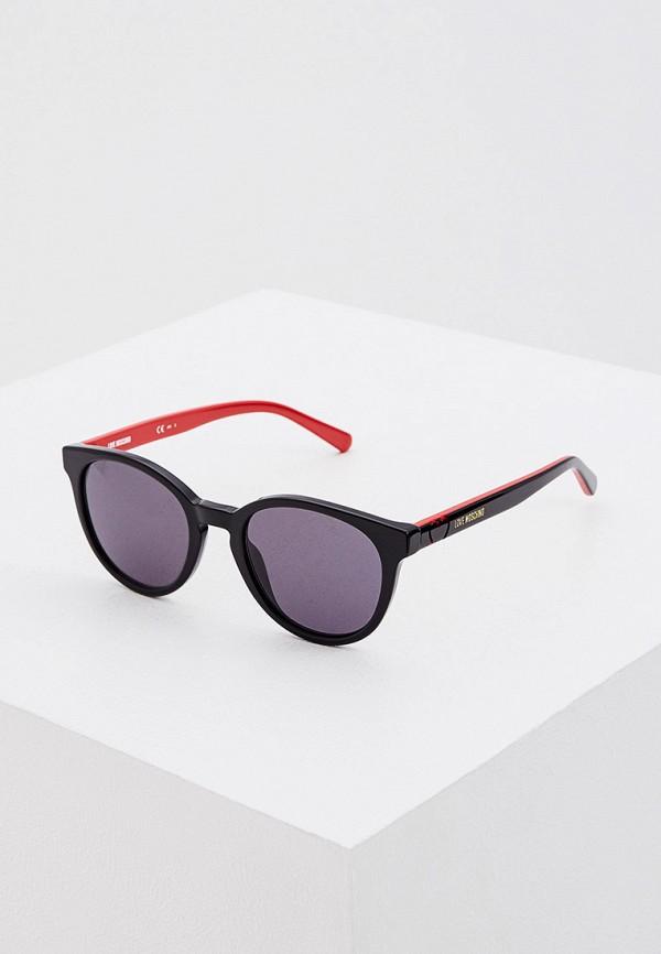 женские солнцезащитные очки love moschino, черные