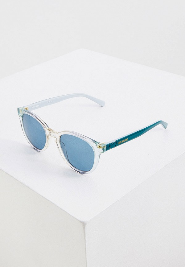 женские солнцезащитные очки love moschino, голубые
